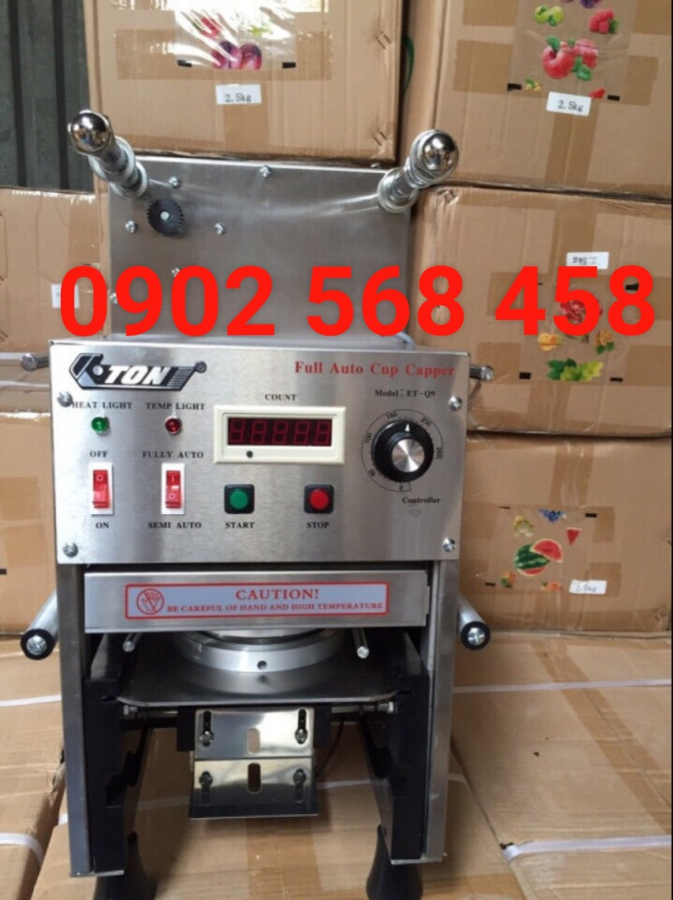 Máy dán ly trà sữa ET-Q9 tự động hoàn toàn vỏ inox giá rẻ LH 0902568458